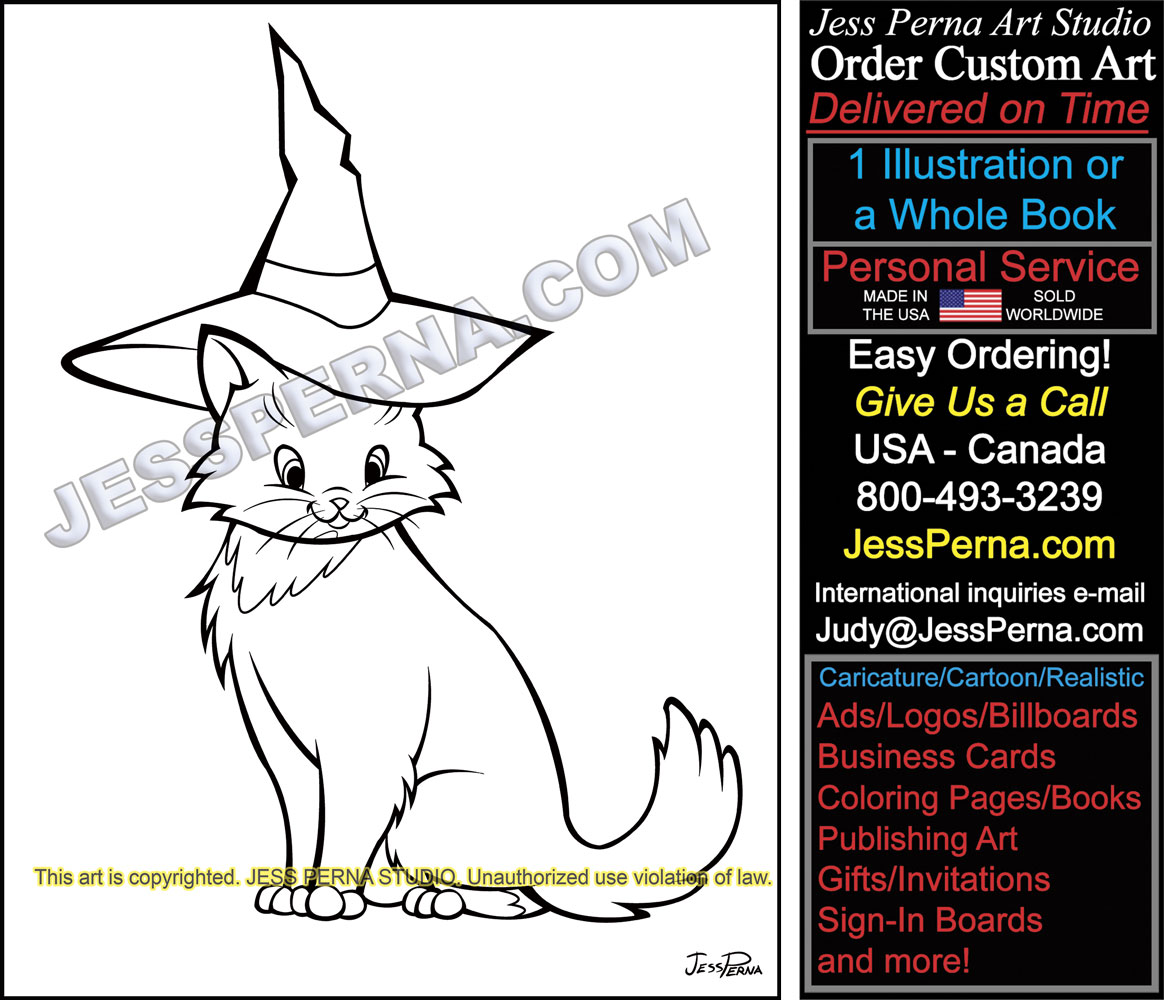 Cat Wearing Hat Digital Illustration Coloring Book Castle Ilustration Hire American Illustrator