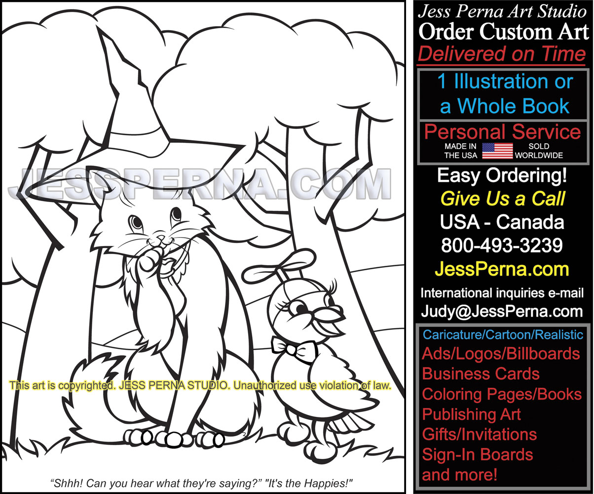 Digital Coloring Page Illustration Freelance American Artist Cat