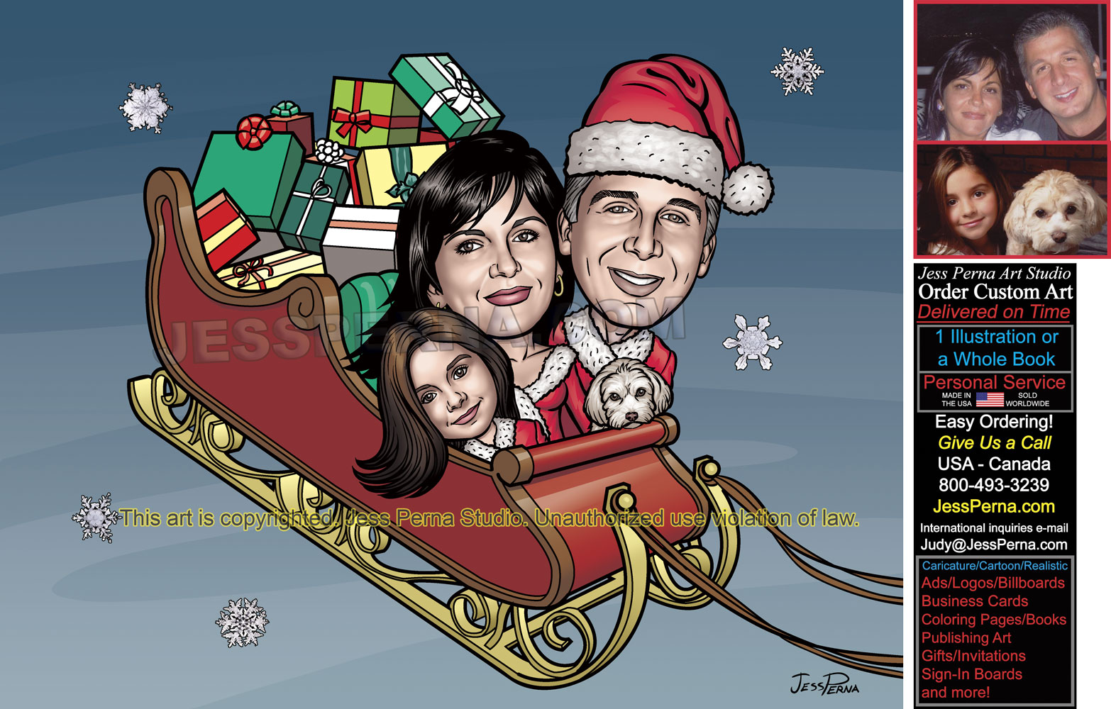 Christmas Cards Custom Made Caricatures and Cartoons