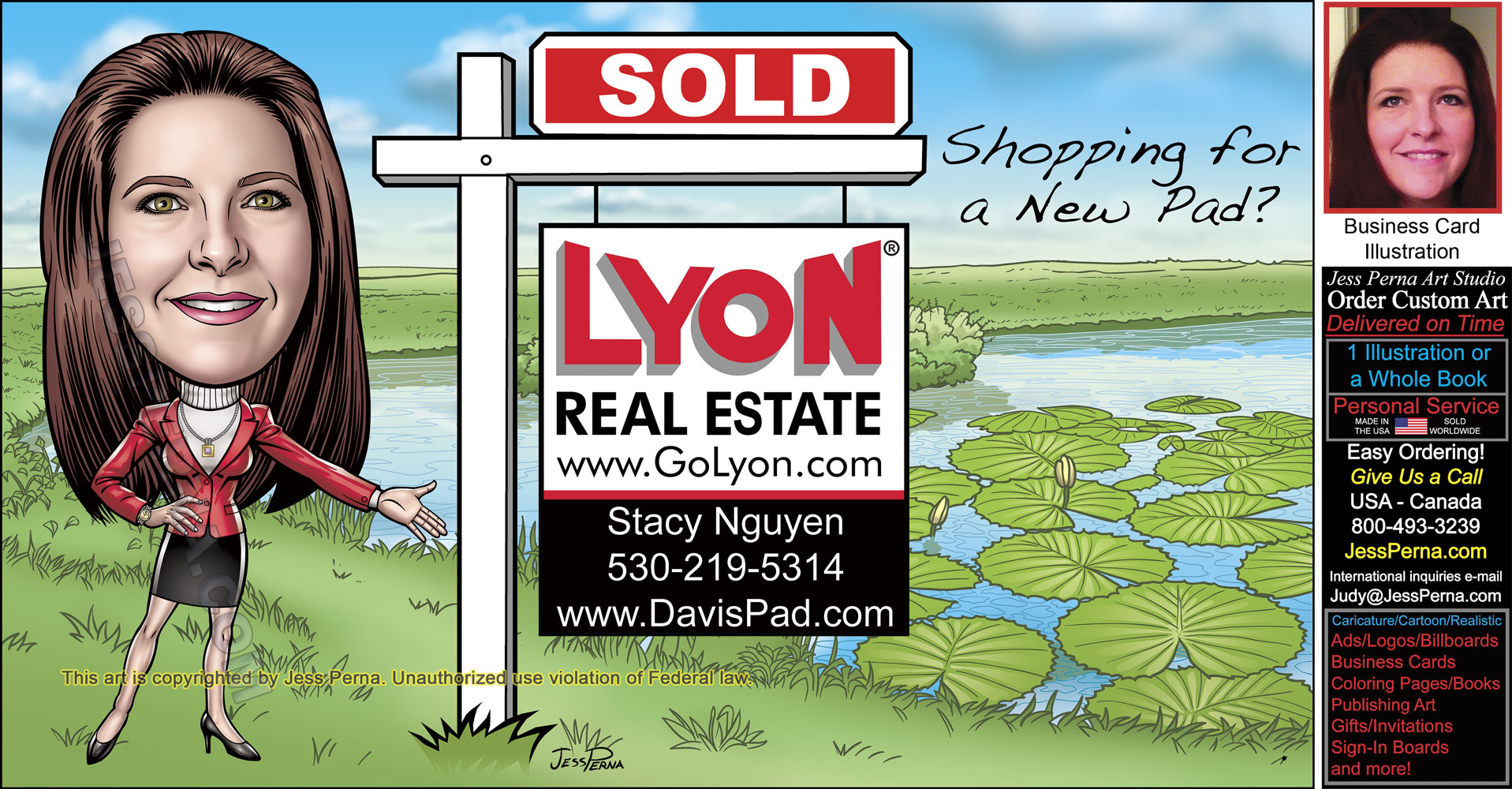 Real estate business cards and sold signs lyon real estate sold sign caricature ad reheart Image collections
