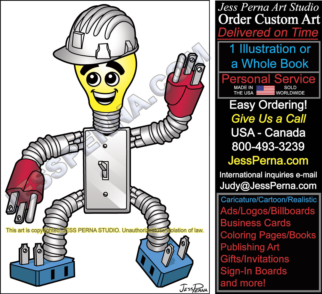 Coloring Page With The Electrician: Electrician Ad, Website Logos, Truck Wrap Illustrations