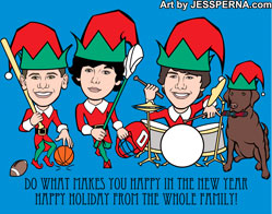 Italian Family Reunion Invitation Caricature Christmas Card Cartoon Art Drawn from Photo