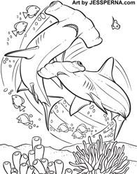 Hammerhead shark coloring page - Easydrawingstokids | 249x196