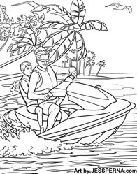 Children S Coloring Pages Book Ilrator For Hire 600x620 Jet Ski